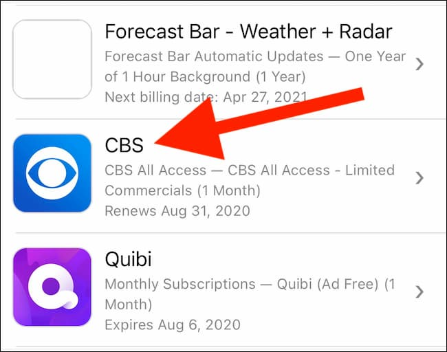 how to canel cbs all access on iphone