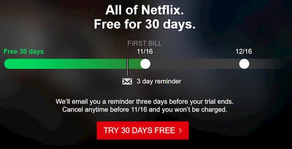 Netflix free trial accounts